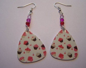 Cupcakes  - Guitar Pick Earrings
