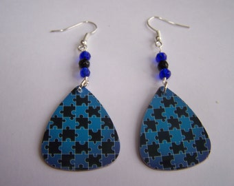 Black and Blue Puzzle Pieces - Guitar Pick Earrings