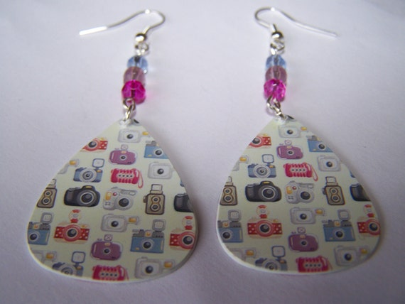 Camera - Guitar Pick Earrings