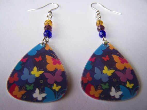 Multi-Coloured Butterflies - Guitar Pick Earrings