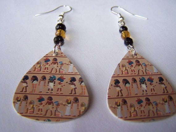 Egyptian Gods - Guitar Pick Earrings (LAST ONE)
