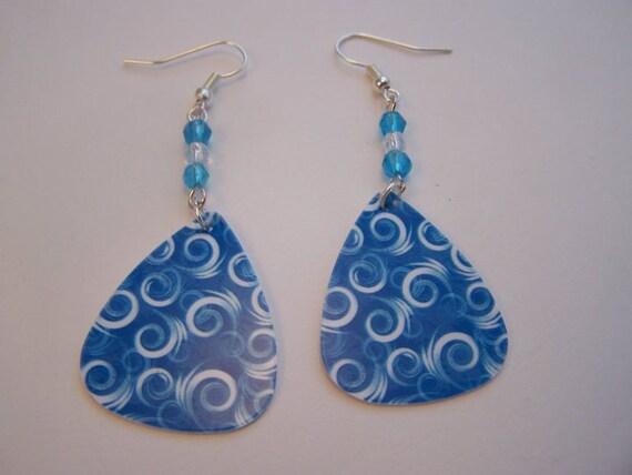Blue and White Swirls - Guitar Pick Earrings