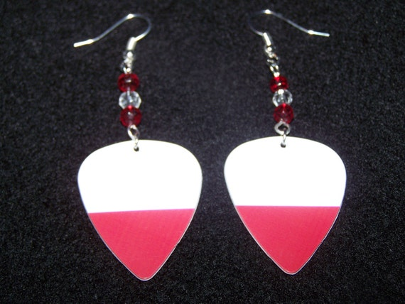 Poland 2012 Olympic Games - Support Your Country Guitar Pick Earrings