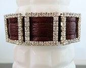 Leather Cuff Bracelet, Vintage, Statement, Clear Square Rhinestone, Red, Silver