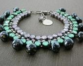Czech Rhinestone Bracelet, Japanese Ceramic Beads, Green, Mauve, Fringe