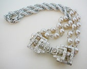 Necklace, Rhinestone Buckle, Squared Vintage Focal and Japan Glass Pearl, Deco Delight