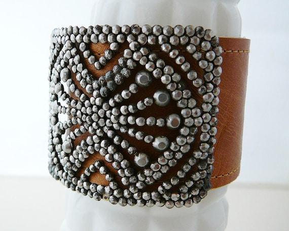 Antique Buckle Bracelet, Camel Leather Cuff, Rocker Bling