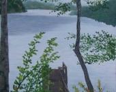 Oil Painting Foggy Fall Morning Carolina Lake Boat Dock Blue Ridge Mountain Art Pat Adams Original