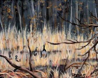 5x7 Original Acrylic Painting Winter Grasses Canada Geese Birds Branches Brown Gray Pat Adams Art