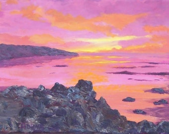 California Rocks Ocean Painting Bay Ocean Sunset Skies Pink Purple Yellow Orange Reflections