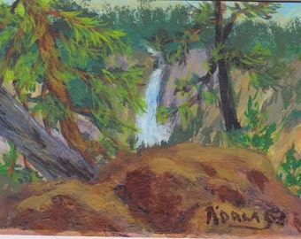 ACEO Yellowstone Lower Falls Original Painting - viewed from high rock overlook. This is No 3 in my ACEO Yellowstone series