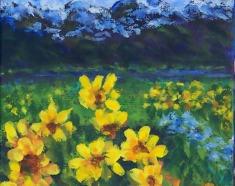 Colorado Mountain Landscape Painting Golden Wildflowers Yellow Blue