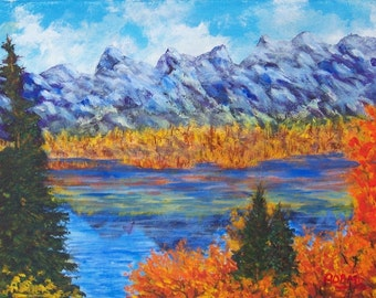 Fall Teton Mountains Lake Reflections Evergreens 9x12 acrylic painting on stretched canvas