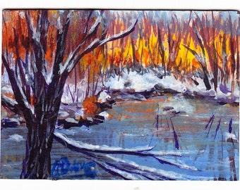 ACEO Pond Autumn Snow Ice Original Painting Bare Trees White Orange Blue Winter Chill Art OOAK
