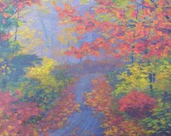 Original 8x10 Acrylic Painting Blue Ridge Mountains Autumn Fall Fog Orange Red Gold Brown Art