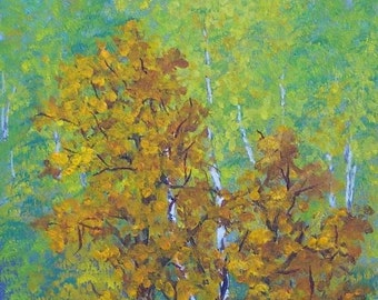 Sycamore Birch Trees North Carolina Maggie Valley Autumn Fall leaves acrylic painting green gold brown