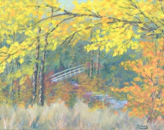 Blue Ridge Mountains Autumn Fall Foliage Footbridge Painting Graveyard Fields  Original Acrylic 9x12 Painting