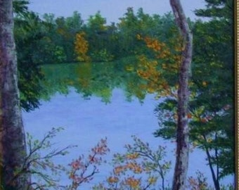 Autumn Fall Colors Blue Lake Water Blue Ridge Mountains North Carolina Original 11x14 Oil Painting