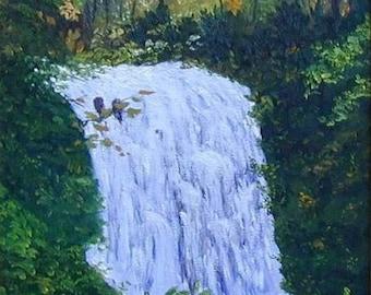 Waterfall Autumn Fall Western North Carolina Highlands Blue Ridge Mountains Original 11x14 Oil Painting