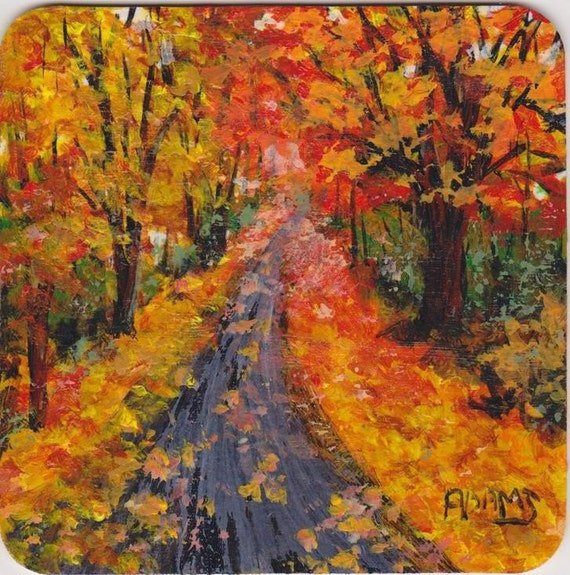 4x4 Autumn Leafy Path Collectible SFA painting on Coaster size chipboard Red Yellow Orange Gold Leaves