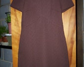 FREE SH MID Century  Chocolate Brown Mod Retro 60's polyester Dress Barnesville Park suite Collection