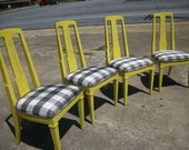 SALE 6 -Vintage Mid Century Modern dining Chairs chartreuse gray buffalo plaid  Free sh