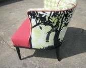 Reduced Mid Century Modern  Chair Barrel Accent Green Black Bird Horse Urban Outfitters