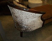 cowhide hair on  hide chaise chair Carved wood made in NC