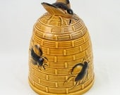 For Your Honey - Vintage 1940s Ceramic Bee Hive Honey Pot Jar with Figural Bee Finial