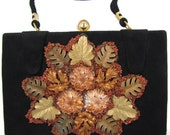 FINAL CLEARANCE - Leaf Bag - Vintage 1950s Leaves and Beads Black Handbag, Beautiful Bronze & Brown Nature Motif, Great Purse for Fall