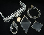 Clear Closures - Lot of 5 Vintage 40s Lucite Purse Hardware Pieces, Hinged Kiss Lock Frame, Wrist Loop Handle & Zipper Pulls for Corde, Croc