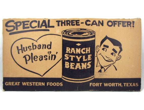 He's Easy to Please - Husband Pleasin' Ranch Style Beans Advertisement, 1950s Sign for Framing, Panel from a Great Western Foods Box