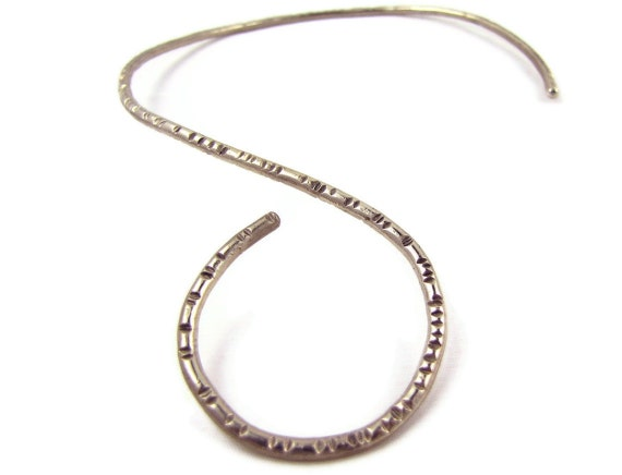 Simple Swirl - Vintage Modernist Necklace, Asymmetrical Open Loop Collar, Textured Silver Spiral, Egyptian Style