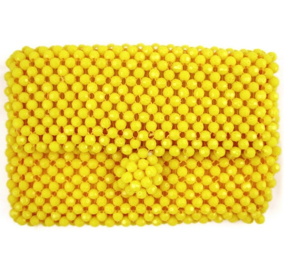 Carry Some Sunshine - Vintage 60s Yellow Beaded Mod Clutch Purse