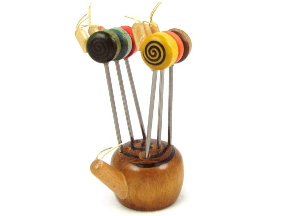 RESERVED Snail Snack - Vintage 70s Wooden Snail Hors D'oeuvre Set by Counterpoint, 6 Metal Picks in Holder, Great for Summer Entertaining