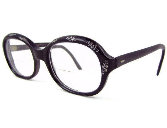 Sparkle Specs - Vintage 1960s Rhinestone Decorated Eyeglasses Frames with Silver Leaves, Black Plastic Glasses, Made in France