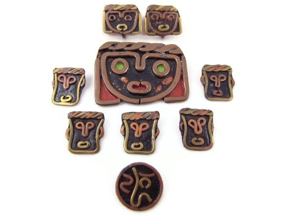 Face It - Vintage Modernist Tribal Faces 9 Pc Copper & Brass Jewelry Set, Brooch, Earrings and Buttons, Unusual Artisan Pieces, Mexican