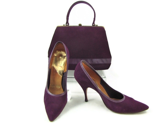 "Exquisite Eggplant - Vintage 50s Deep Purple Suede Stiletto Pumps & Matching Handbag, Hand Made Shoes, 3.5"" Heels, Pointy Toe, Size 7"