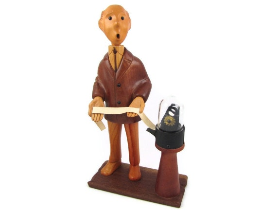 Market Watch - Vintage Romer Carved Wooden Stock Broker Figure, Complete with Rare Ticker Tape Cover, Made in Italy