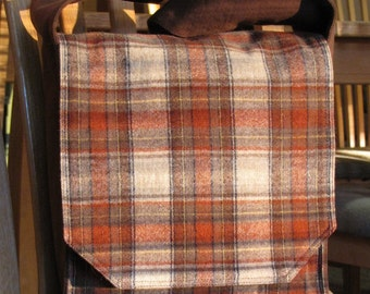 Warm Brown Plaid Messenger Bag
