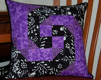 Purple Snail Trail Quilted Pillow Cover 16x16