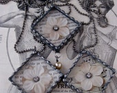 Vintage Silk Flower Diamond Necklace