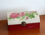 Old wooden box with roses