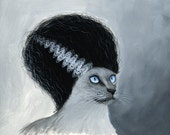 ACEO Art Card ... Bride of Frankenstein...Signed print of cat painting art