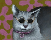 ACEO Art Card ... All You Need Is Love...Signed Print of John Lennon cat painting