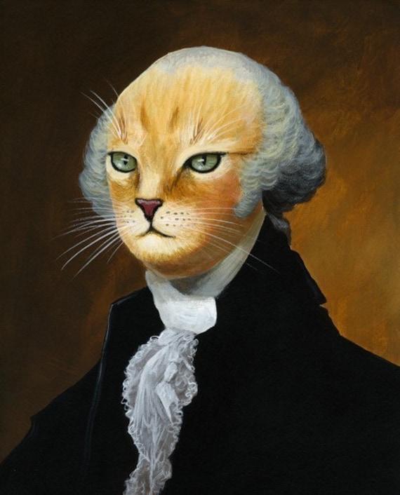 George...8 x 10 glossy print ... George Washington cat