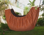 Baby Hammock, cradle, swing and crib for indoors and outdoors - Earth tone with thin stripes and Tan lining