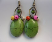 Mixed Magnesite Turquoise - Green Chandelier Earrings