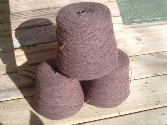 NZ Possum/Merino CSM weight felted sock knitting yarn, 475g cone, Chocolate Brown