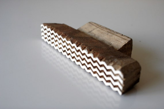 Hand carved wood textile block print stamp border
